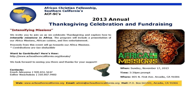 2013 Thanksgiving Celebration and Fundraising